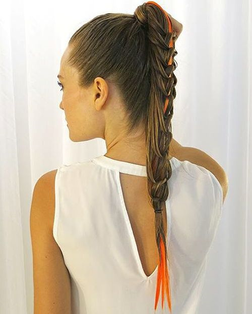 wet look braided pony for long hair