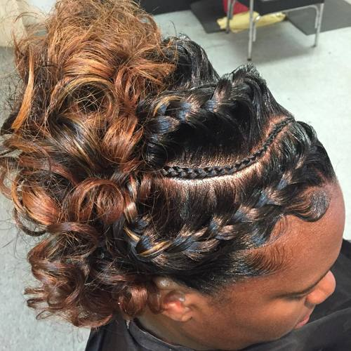 black curly updo with goddess braids