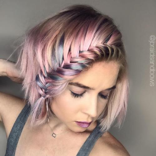 Pastel Pink Bob With A Braid