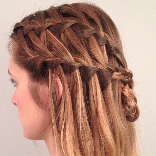 two waterfall braids half updo