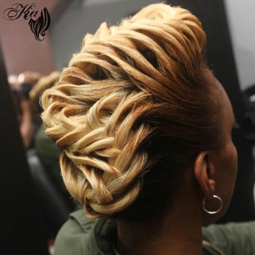 African American Blonde Braided Mohawk