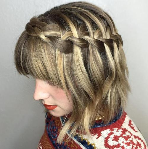 Bob With Waterfall Crown Braid