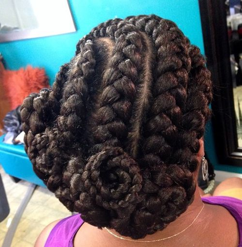 asymmetrical updo with goddess braids