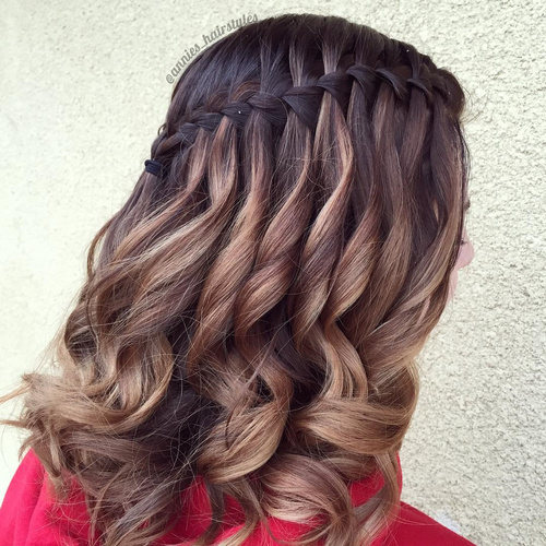 waterfall braid for balayage hair