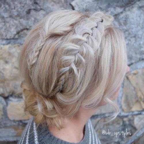 Low Messy Bun With Braids For Shorter Hair