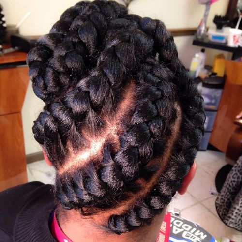 updo with diagonal goddess braids