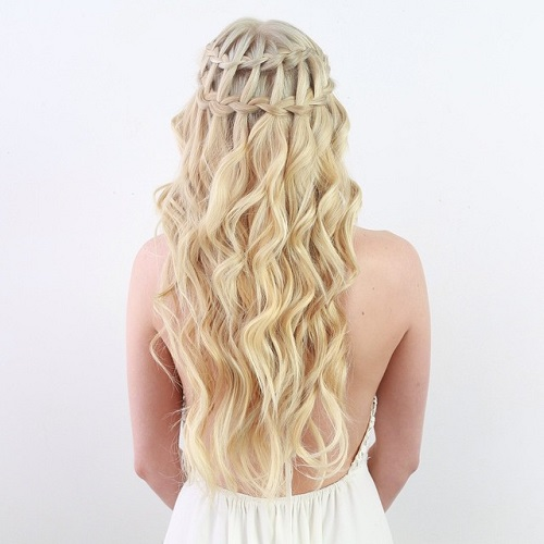 double waterfall braid half updo for blonde hair