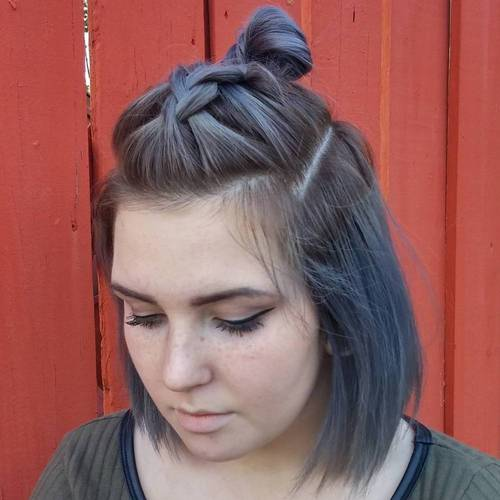 half updo with braid and top knot for bob haircut
