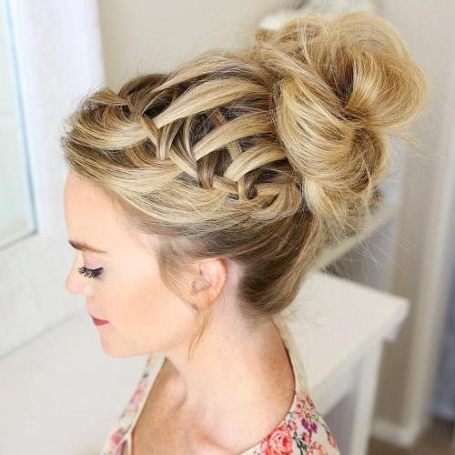 Looped Messy Bun With Waterfall Braid