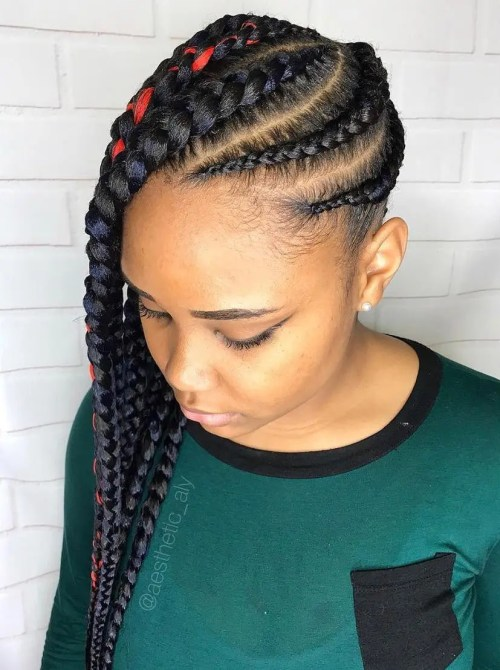 Chunky Side-Swept Black Braids