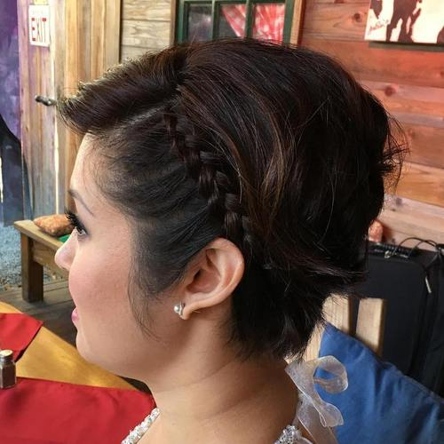 short hairstyle with a bouffant and side braid