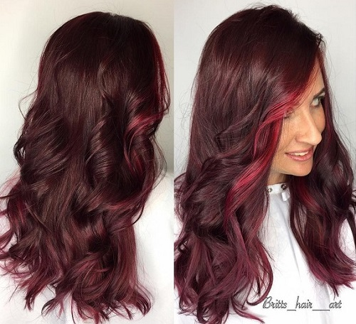 long mahogany hair with face-framing balayage
