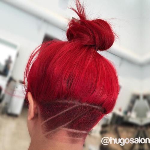 messy top knot with undercut