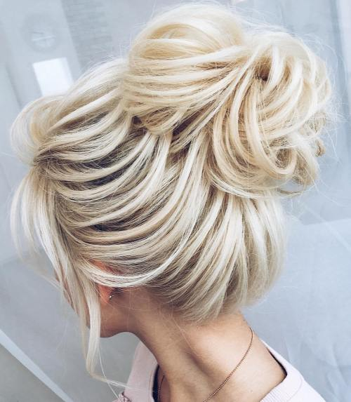 Soft Blonde Bun Updo
