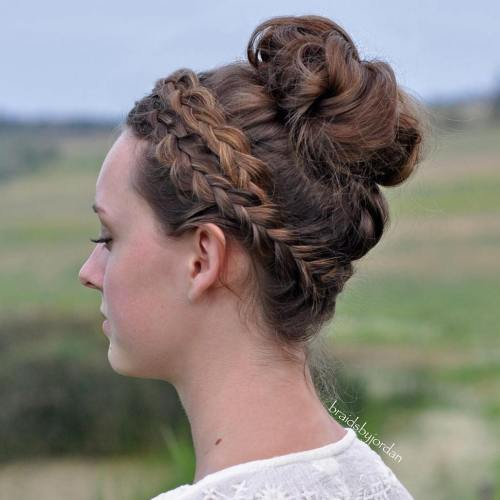 Dutch Braided Top Knot Bun