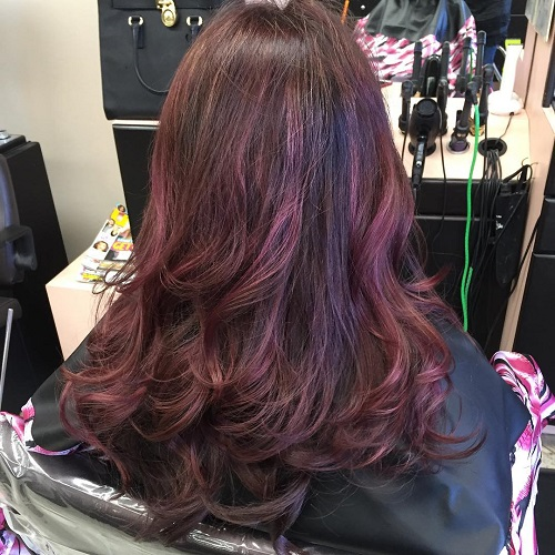 two tone mahogany hair color