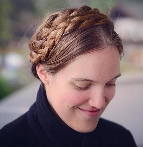 two milkmaid braids updo