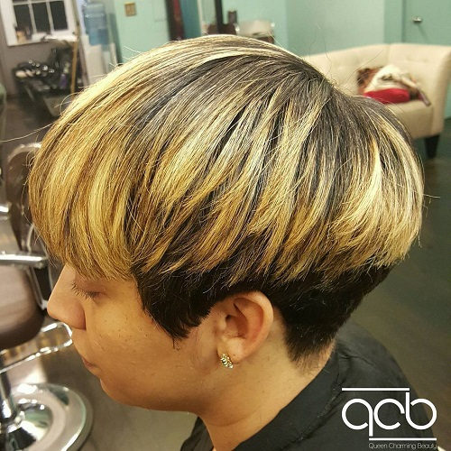 short black bob with golden blonde balayage