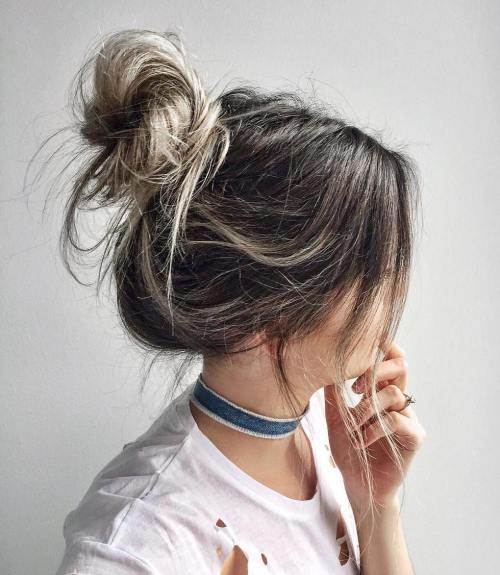 Messy Updos For Thin Hair: Best 35 Top Knot Bun Ideas On TheRightHairstyles