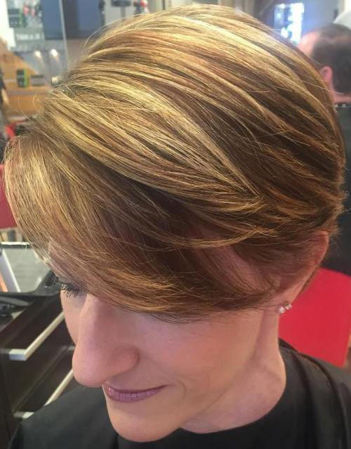 short hairstyle with side-swept bangs