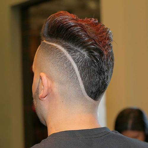 mohawk fade with shaved lines for men