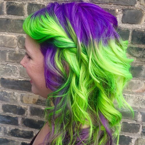 Neon Purple And Green Balayage