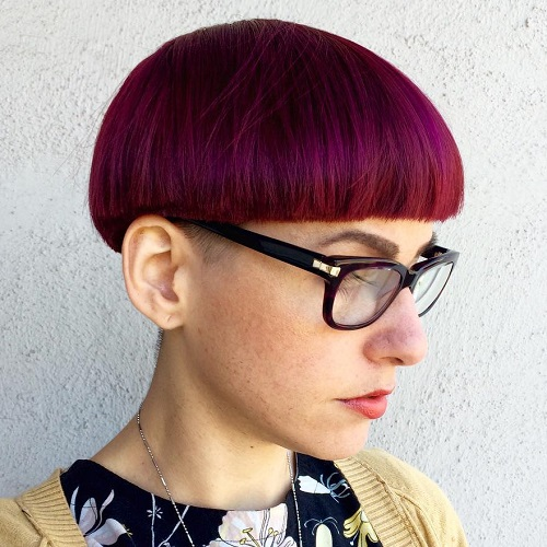 Magenta Colored Bowl Cut