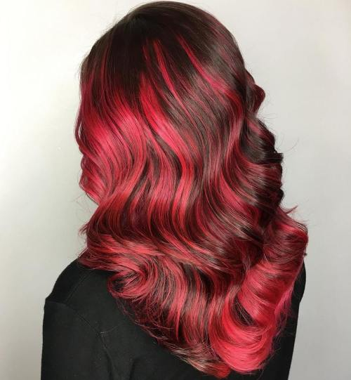 Bright Pink Balayage For Brown Hair