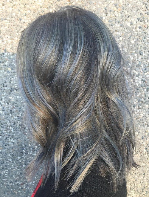 Medium Wavy Gray Balayage Hair