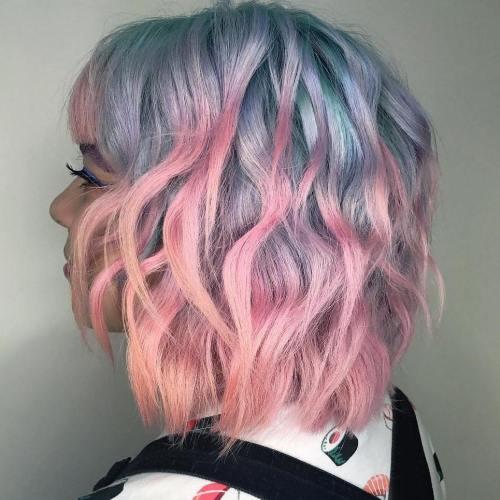 Pastel Blue And Pink Wavy Bob
