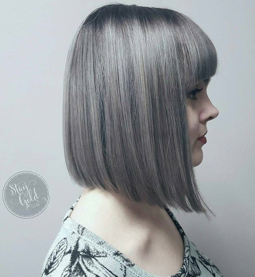 Silver A-Line Bob With Bangs