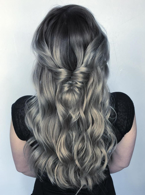 Long Silver Ombre Hair