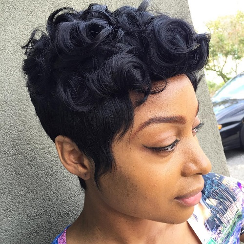 Curly Black Pixie Hairstyle