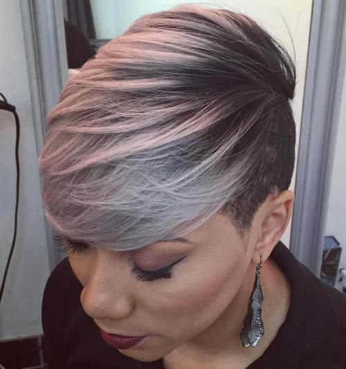 Short Gray Balayage Hairstyle For Black Women