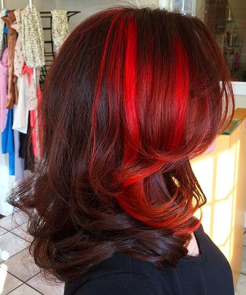 Mahogany Hair With Bright Red Balayage