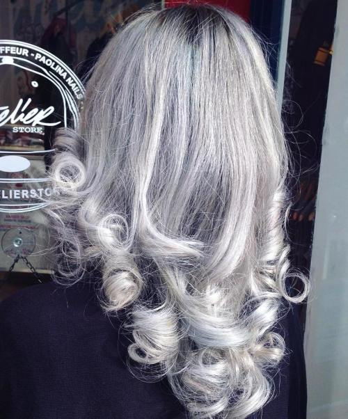 Silver Hair With Black Roots