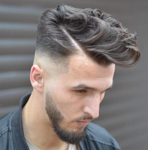 Curly Combover With Taper Fade