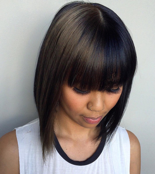 Brunette Two-Tone Bob With Bangs