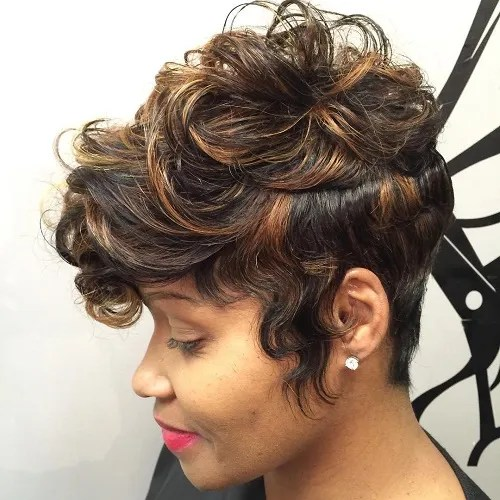 Long Curly Black Pixie With Highlights
