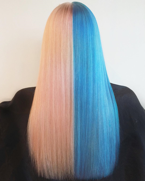 Half Blonde Half Blue Hair