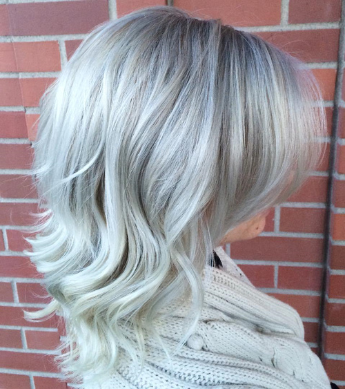 Medium Length Silver Hair With Bangs