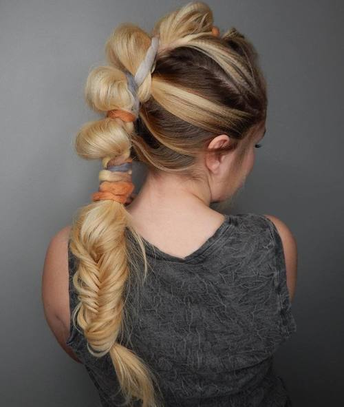 Mohawk Updo With A Low Fishtail