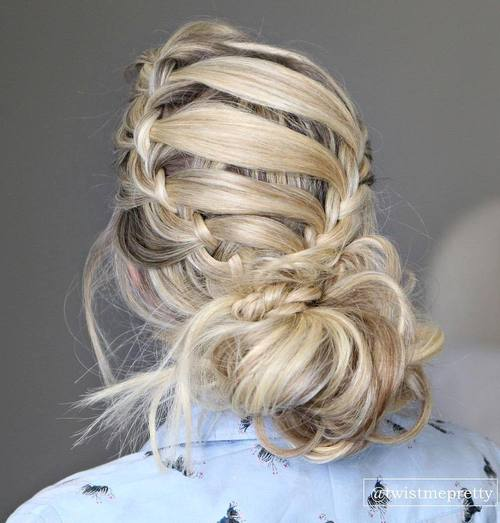 Messy Bun Updo With Headband Braid