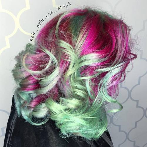 Pink And Mint Hair Color Idea