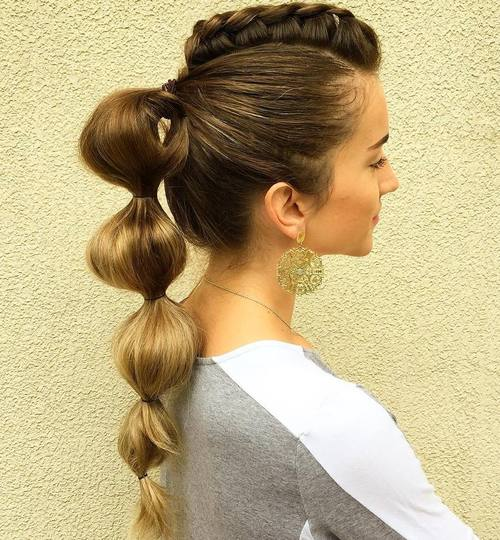 Braided Fauxhawk With Bubble Ponytail