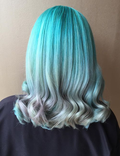 Teal To Gray Ombre Hair