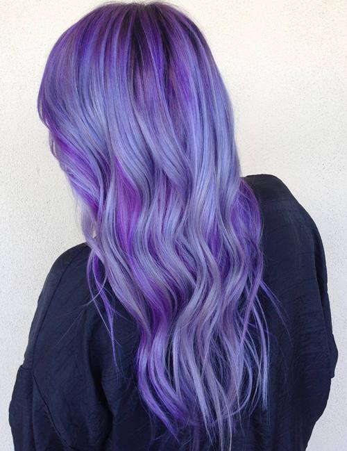 Long Layered Pastel Purple Hair