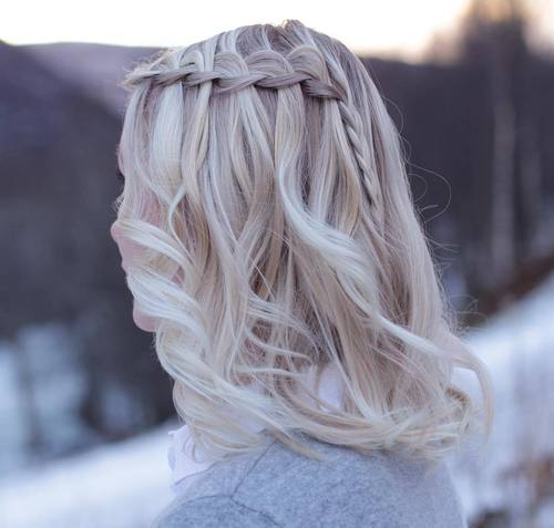 Easy Waterfall Braid For Medium Hair