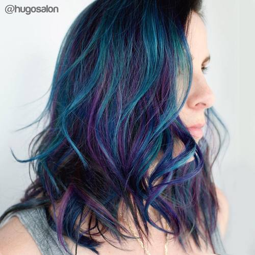20 fresh teal hair color ideas for blondes and brunettes teal hair with purple highlights pmusecretfo Images
