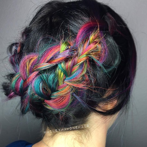 Black Hair With Rainbow Highlights